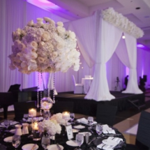 tall white centerpieces, black and white wedding