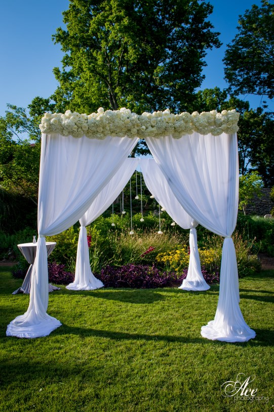 White Chuppah with flowers ,   Draping Nashville TN