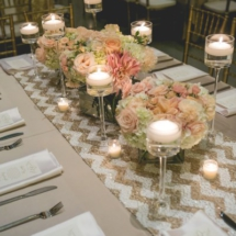 gold and white chevron, peach and blush wedding decorations