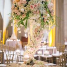 cascading flowers centerpiece, weddings, peach and blush flowers