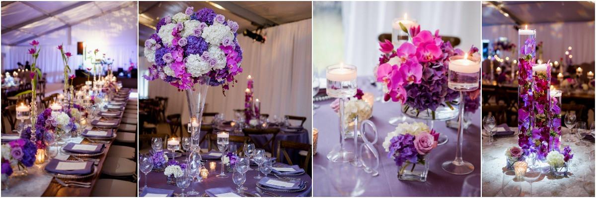 purple centerpieces, memphis wedding planner
