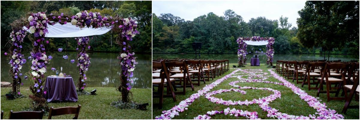 ceremony decor, outside jewish wedding, chuppah, purple chuppah