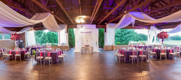 purple, pink, wedding reception