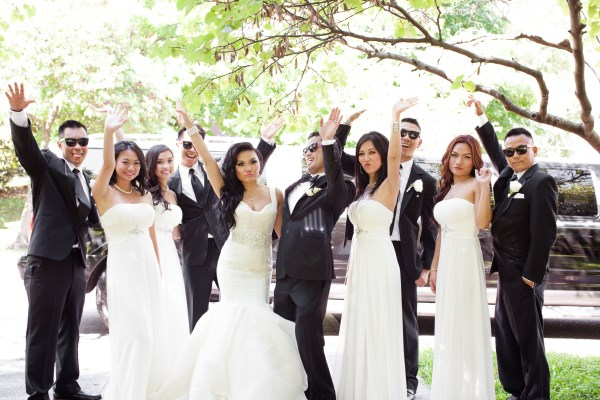 bride, groom, bridesmaids, groomsmen, suit, dresses