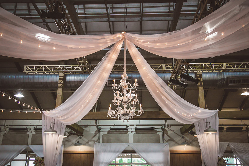 ceiling drape, chandelier, eddison lights