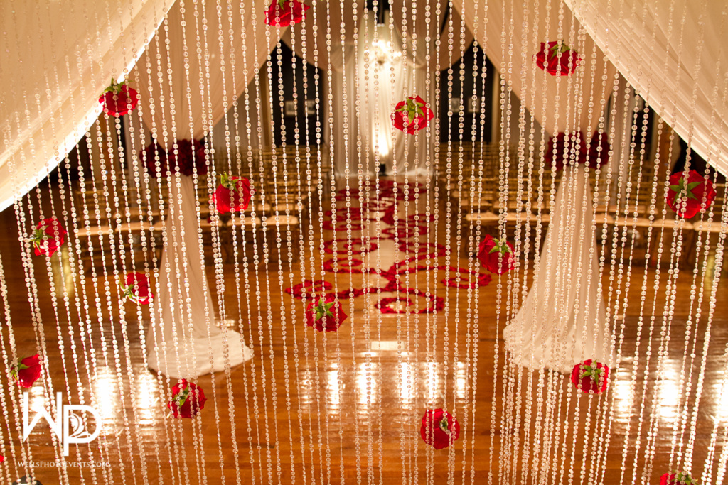 red roses, jewel curtain