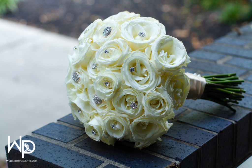 bride bouquet, bling, white roses