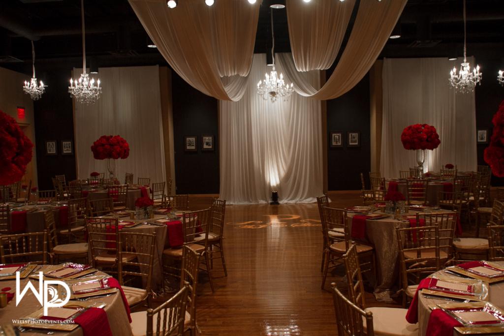 ceiling drape, chandeliers, centerpieces