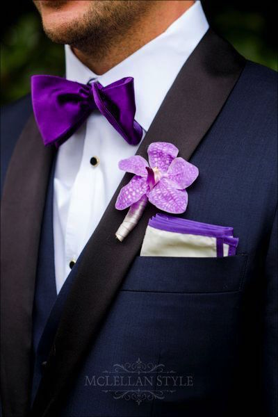 custom suit, purple bowtie, groom