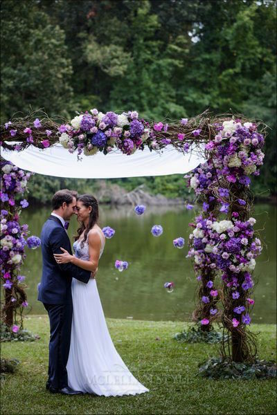 ceremony, chuppah, purple flowers