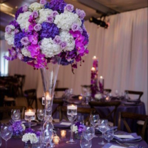 purple centerpiece, purple orchids
