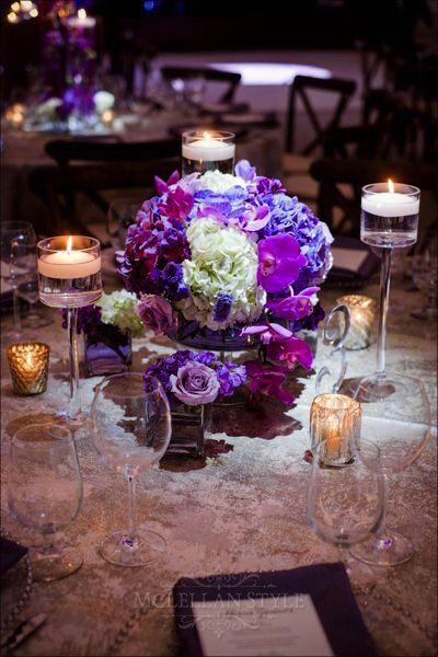 floral design, arrangement, purple accents