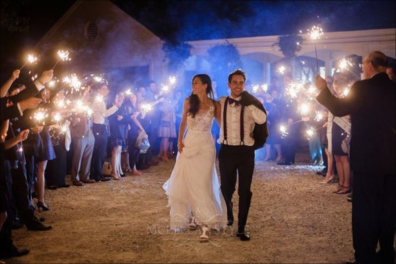 sparkler exit, bride and groom, just married