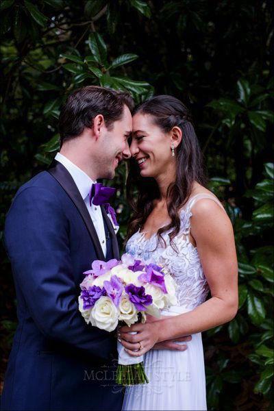purple and white bouquet, purple accents