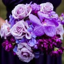 purple bouquet, orchids, different shades of purple