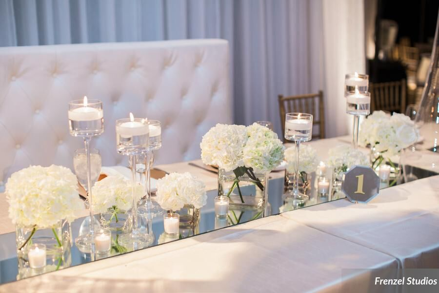 mirror, flowers, head table
