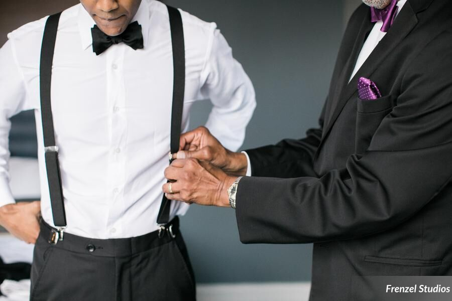 suspenders, bowtie, groom