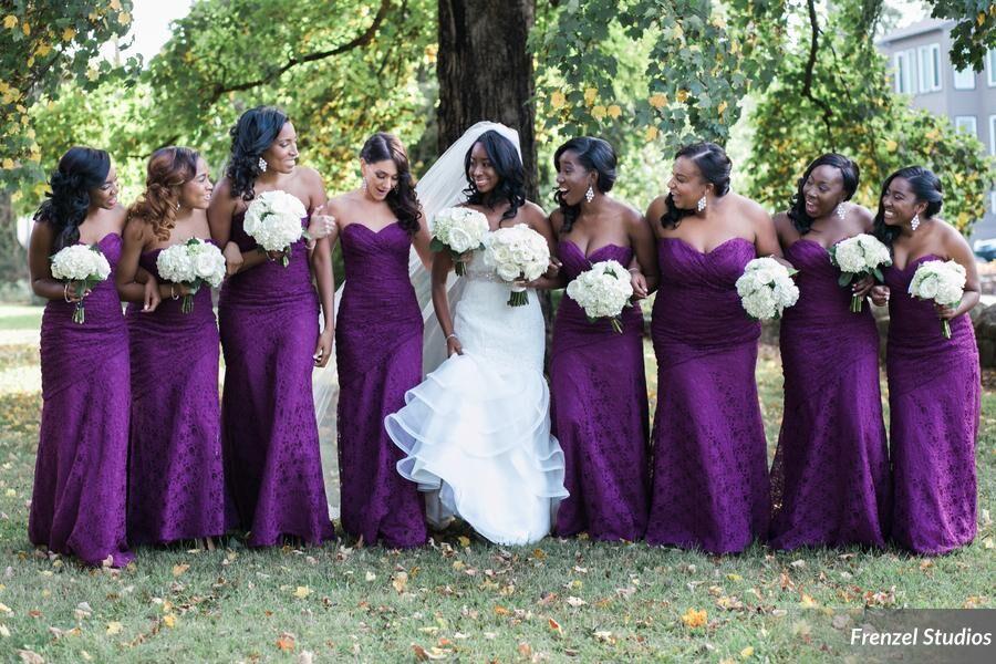 bride, bridesmaids, purple