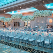 luxury wedding florals, nashville wedding planner, white florals, blue lighting, Tiffany blue wedding