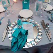 mirror charger plates, napkin rings