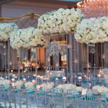 tall white centerpieces, wedding designer