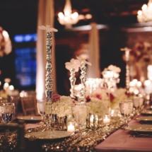 orchids, sequin linens, purple wedding
