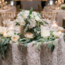 sweetheart table, lace, floral design