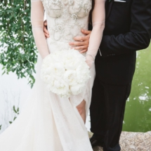 wedding dress, white bouquet, groom, suit, tux