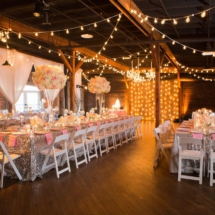 pink and silver decor, centerpieces, lights, nashville venue