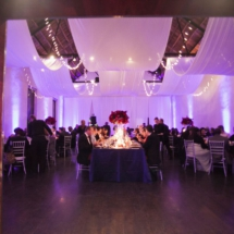 ceiling drape, lights, red florals