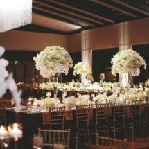 large centerpieces, chandelier, gold, black