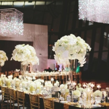 Chandeliers, White Flowers, Tall Centerpieces