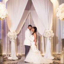 ceremony, bride, groom, centerpieces