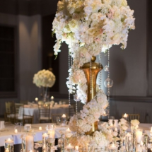 floral, centerpiece, candles, reception, white and blush wedding