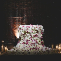 floral waterfall, sweetheart table