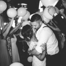balloons, exit, bride, groom