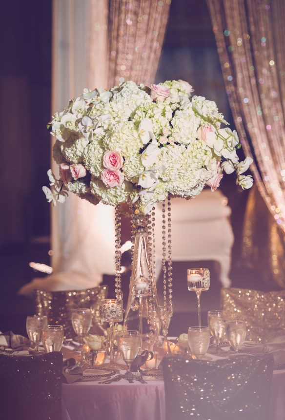 white and pink wedding, gold, orchids