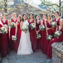 Bride and Bridesmaids, Red Dresses