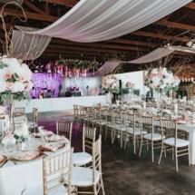 wedding reception, golf course, pink, green, centerpieces