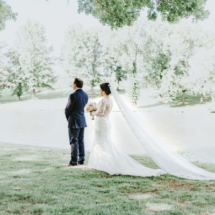 first look, train, gown, bride and groom
