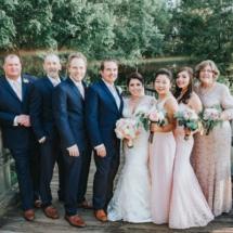 bridal party, navy, pink