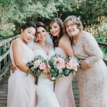 bride, bridesmaids, bouquets