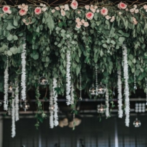 greenery, hanging centerpiece, floating globes, floating flowers