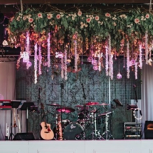 live band, hanging centerpiece, greenery