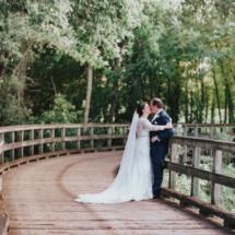 bridge, enchanting, bride and groom