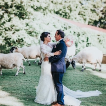 sheep, nashville bride and groom, lace