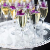 Champagne Toast, Pre Ceremony, Purple Orchids