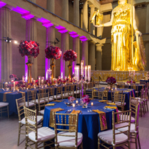 Gold, Fuschia, Purple, Centerpieces, Royal Blue, Weddings, Luxury Weddings, Tall Centerpieces, Candleabras