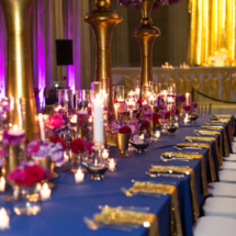 Gold, Fuschia, Purple, Centerpieces, Royal Blue, Weddings, Luxury Weddings, Tall Centerpieces