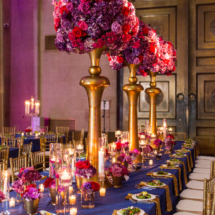 Gold, Fuschia, Purple, Centerpieces, Royal Blue, Weddings, Estate Table